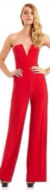 Strapless V-neck Slim Pure Color Flared Long Jumpsuit - Meet Yours Fashion - 5