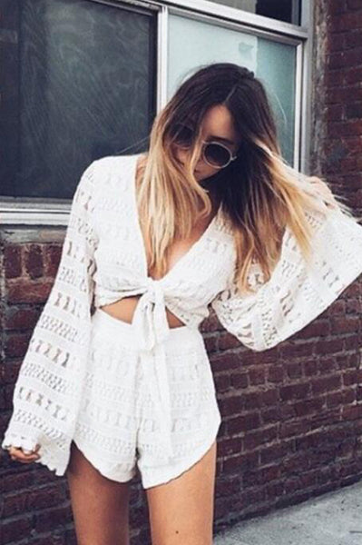 Deep V-neck Lace Crop Top with Shorts Two Pieces Set