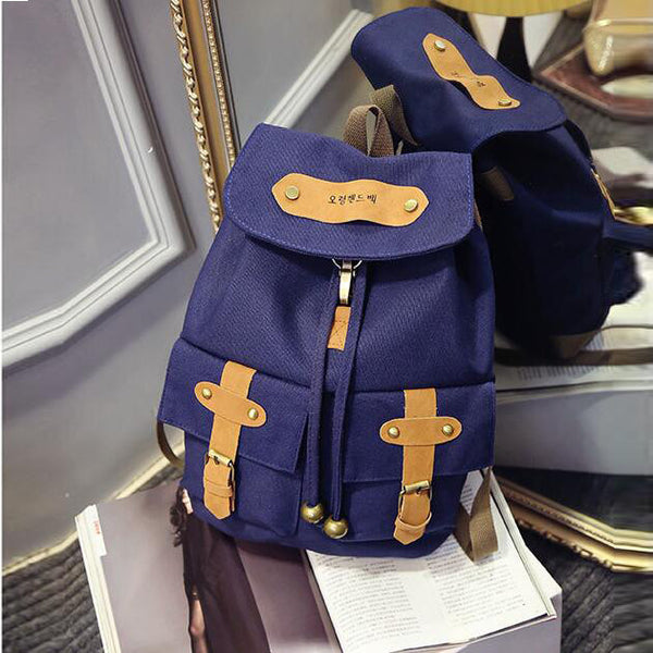 Belt Fastener Solid Color Canvas Backpack School Bag - Meet Yours Fashion - 1