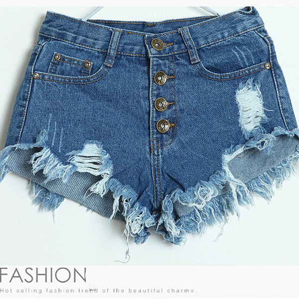 Begger Style Denim Pure Color Hole High Waist Loose Shorts