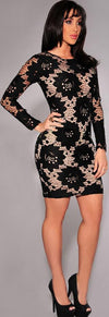 Sexy Black Embroidery Bodycon Short Dress