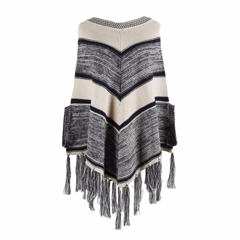 Shawl Tassel Round Neck Women Sweater