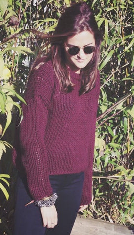 Wine Red Solid Color Knit Pullover Sweater - Meet Yours Fashion - 1