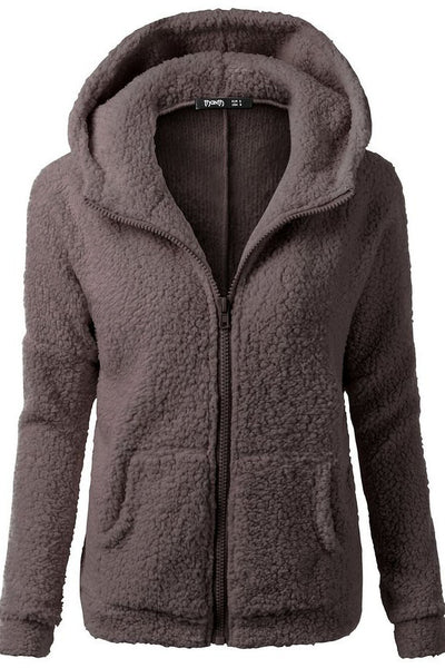 Zipper Pockets Solid Color Hooded Hoodie Coat