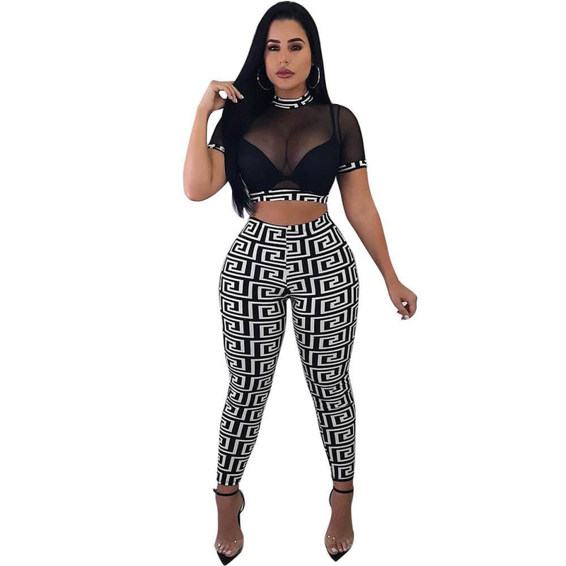 High Neck Crop Top Print Skinny Pants Set