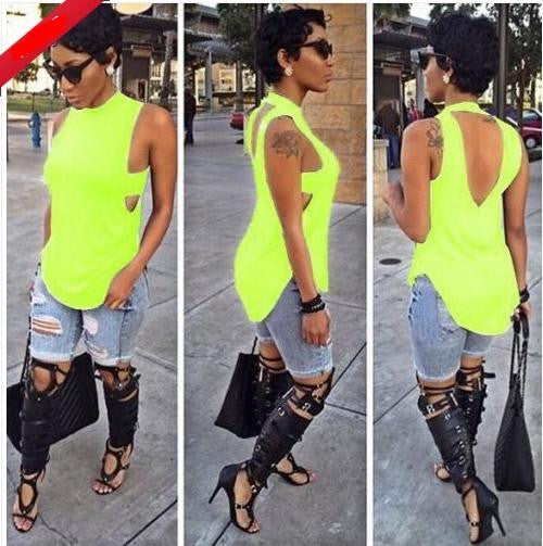 Backless Sleeveless High Neck Slim Sexy Blouse - Meet Yours Fashion - 7