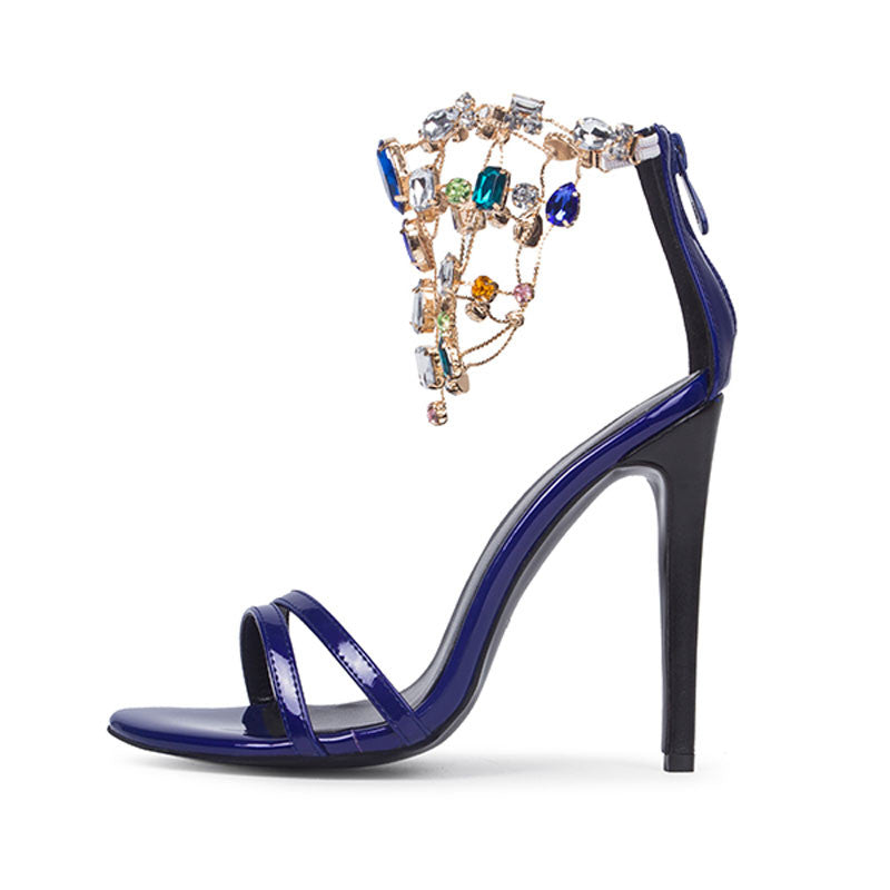 a04ddd8f8 ... Luxurious Purple Rhinestone Ankle Wrap Heel Sandals with Plus Size -  Meet Yours Fashion - 3 ...