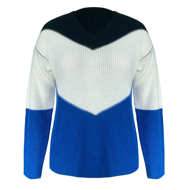 Colorblock V Neck Pullover Knitted Sweater