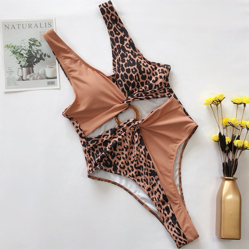 Leopard Cutout Colorblock High Rise High Cut Swimsuit