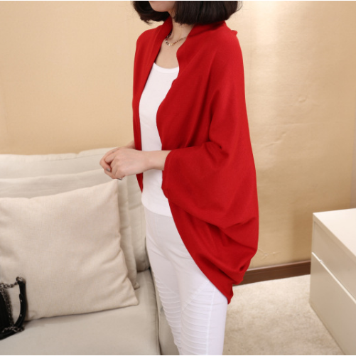 Batwing Solid Color Shawl Knit Loose Cardigan