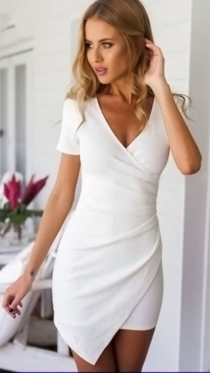 V-neck Short Sleeves Irregular Sexy Short Dress - Meet Yours Fashion - 2