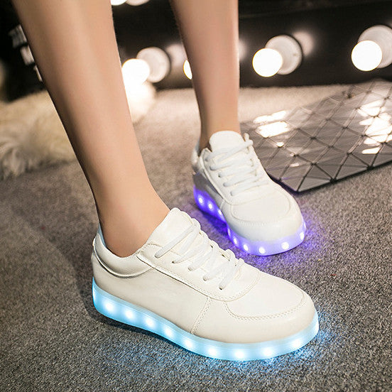 Unisex Cool LED Light Lace Up Luminous  Flat Sneaker Shoes - Meet Yours Fashion - 2