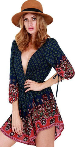 Printed Fashion V Neck Jumpsuit