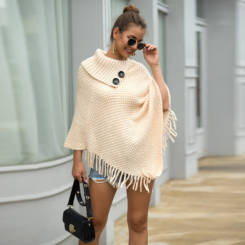 Tassel Loose Long Cape Sleeve Women Sweater