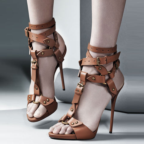Rivets Open Toe Ankle Wrap Straps Stiletto High Heel Brown Sandals
