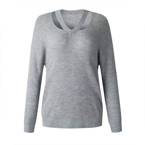 Cut Out V Neck Pullover Sweater