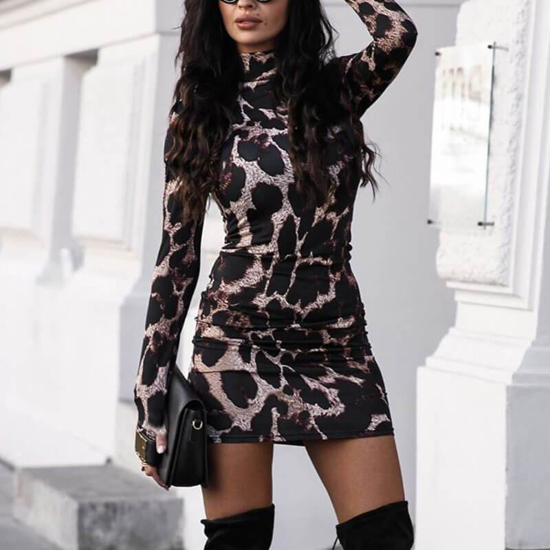 Animal Printed Turtleneck Bodycon Short Dress