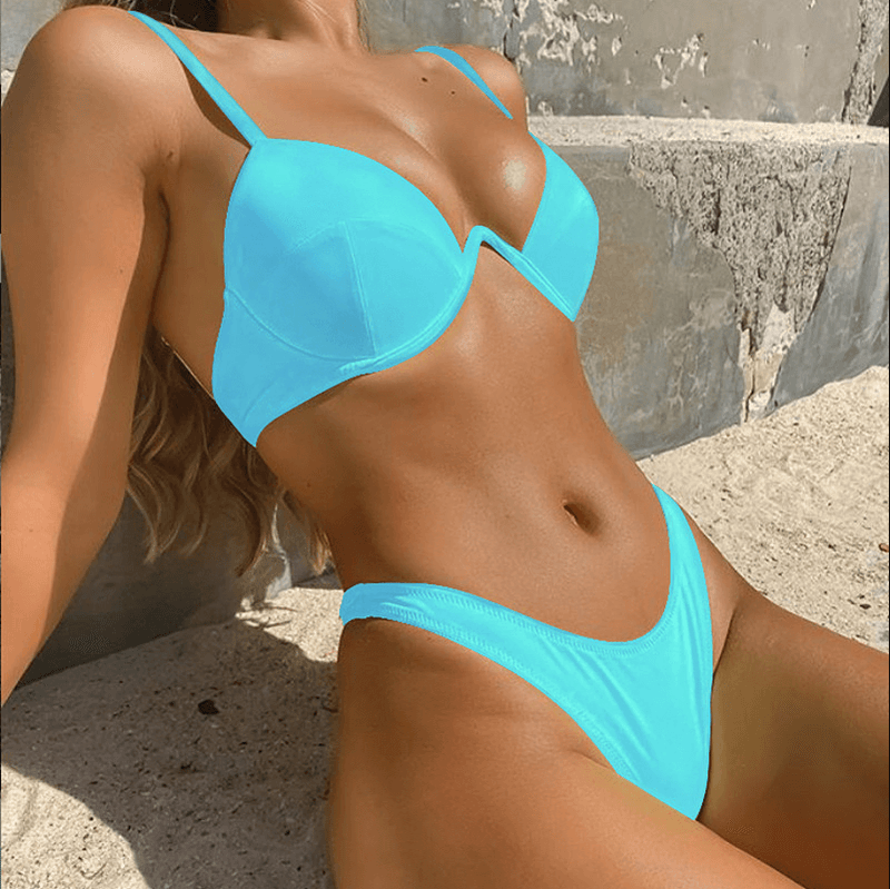 Bright Color Plain Padded Top Thong Bottom Bikinis