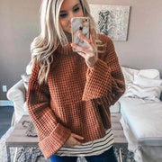 Turtleneck Wide Sleeve Knit Crochet Sweater