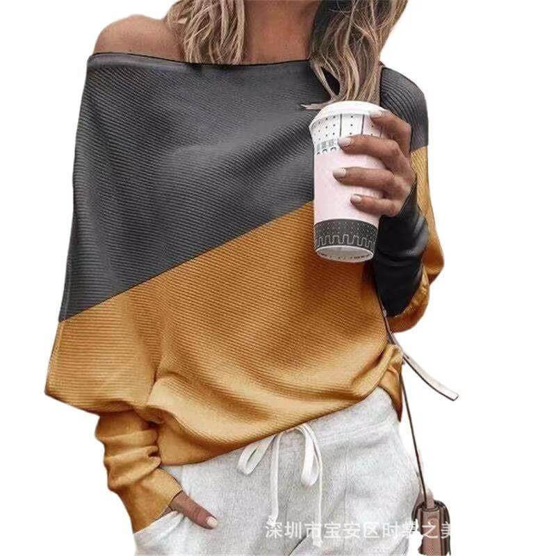Patchwork One Shoulder Loose Blouse