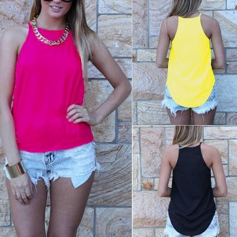 Spaghetti Strap Sleeveless Pure Color Slim Vest - Meet Yours Fashion - 2
