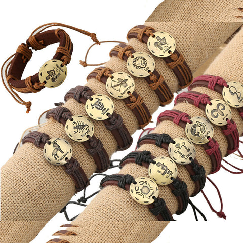 12 Constellation Leather Bracelet Set