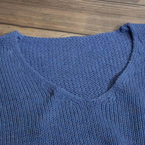 Oversized Crewneck Plain Knit Sweater