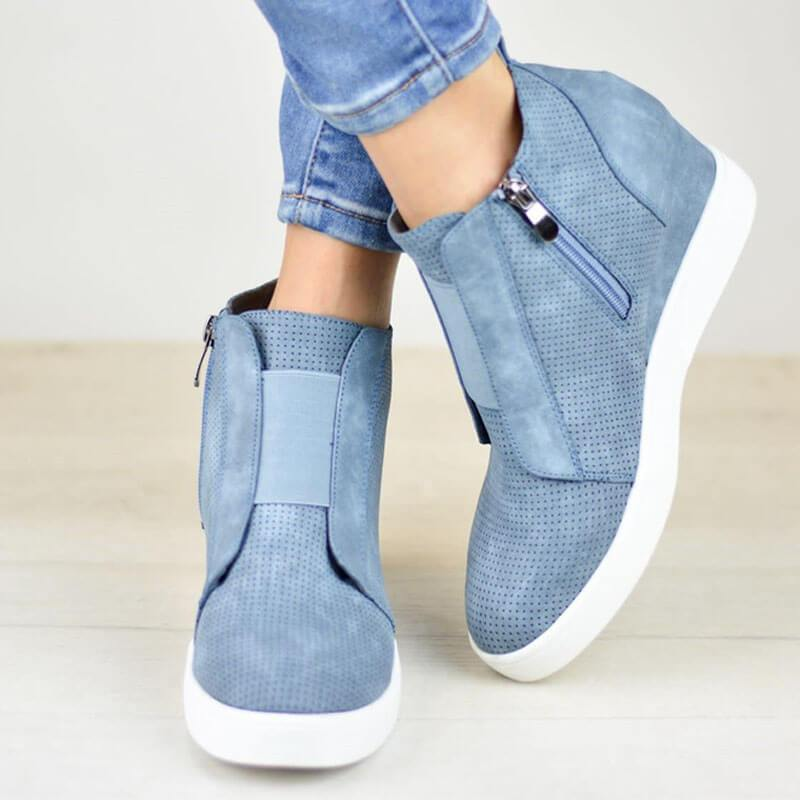 Zipper Slip-On Wedge Shoes