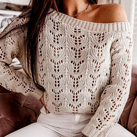 Hollow Out Solid Pullover Sweater