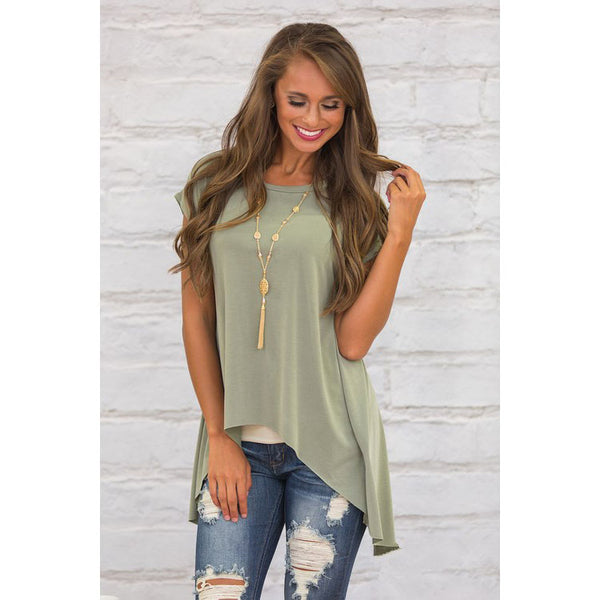 Back Split Short Sleeve Irregular Loose T-shirt