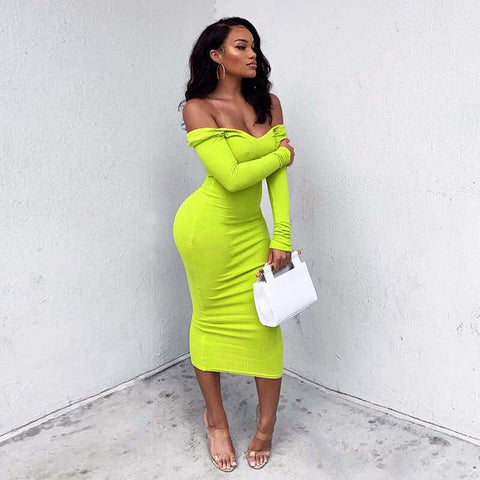 Plain V Neck Knit Bodycon Dress