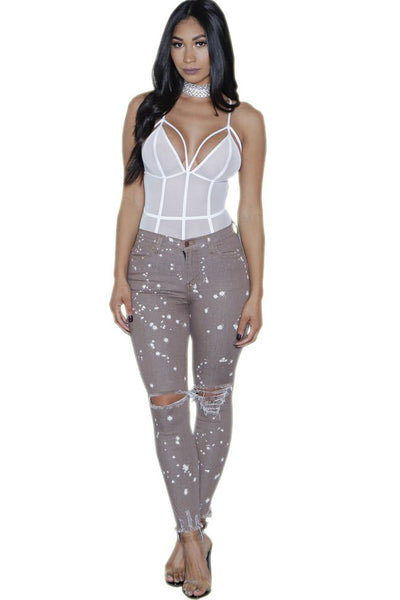Print Cut Out Knee Holes High Waist Long Skinny Jeans