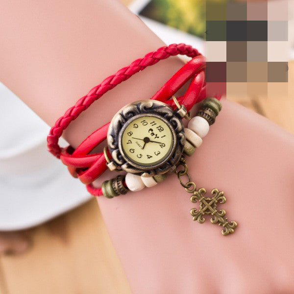 Retro Cross Multilayer Woven Watch