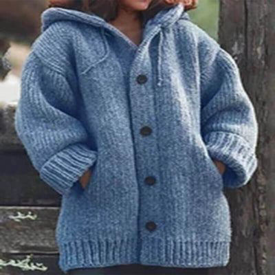 Hooded ButtonThick Knit Cardigan