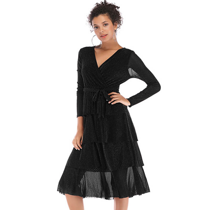 Long Sleeve Empire Waist Knee Length Dress