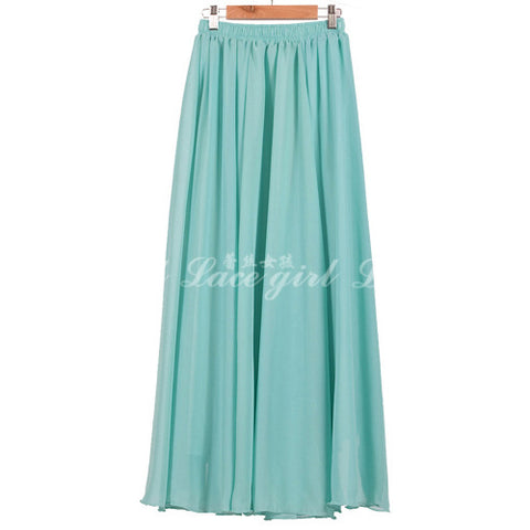 High Waist Bohemian Pure Color Loose Long Beach Chiffon Skirt