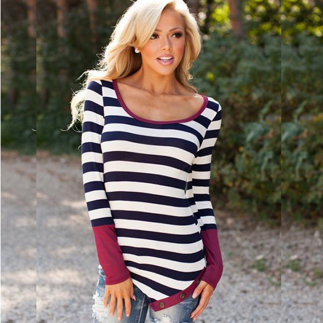 Striped Scoop Long Sleeves Patchwork Navy Irregular T-shirt - Meet Yours Fashion - 1