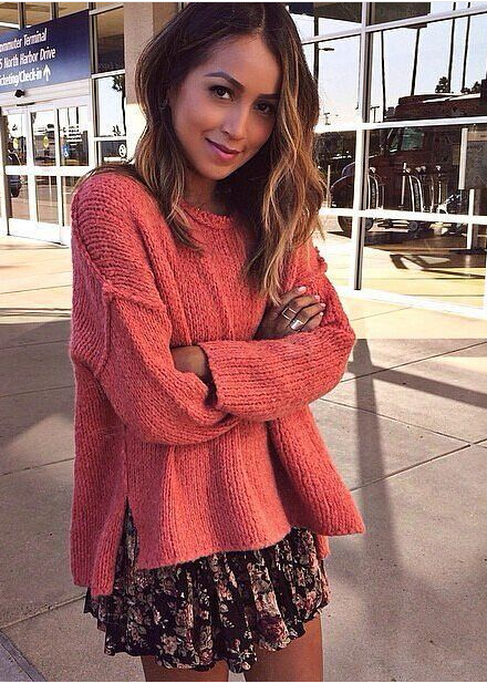 Fashion Asymmetric Scoop Knit Solid Color Sweater - Meet Yours Fashion - 2