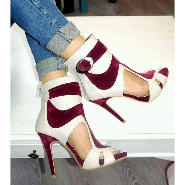 Color Block Peep Toe Cut Out Back Zipper Stiletto High Heels Short Boot Sandals