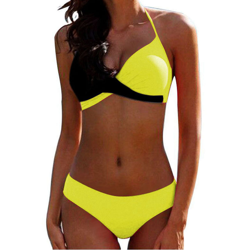 Plus Size Halter Colorblock Strappy Low Rise Bikinis