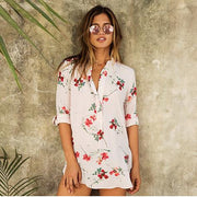 Flower Print Turn-down Collar Middle Sleeves Chiffon Blouse - Meet Yours Fashion - 2