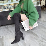 Black Over Knee High Heel Suede Boots