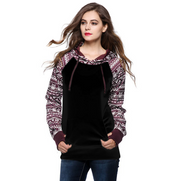 Print Pullover Hooded Pocket Splicing Long Sleeves Hoodie - Meet Yours Fashion - 2