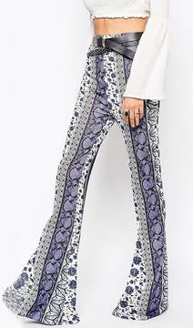 Blue And White Porcelain Bodycon Flower Print Bell-bottom Pants