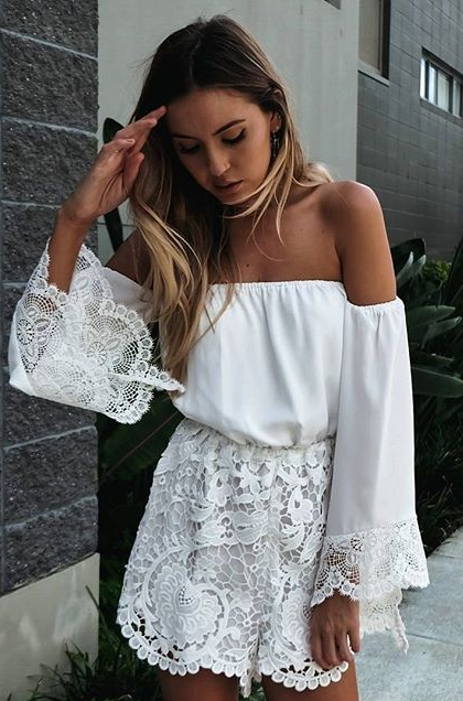 Sexy White Lace Off Shoulder Long Sleeve Jumpsuit - Meet Yours Fashion - 2