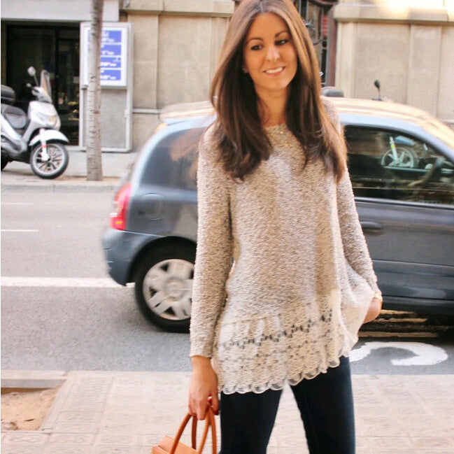 Lace Trim Pure Color Loose Knit Sweater - Meet Yours Fashion - 3