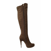 Suede Stiletto Heel Round Toe Zipper Over the Knee Brown Long Boots