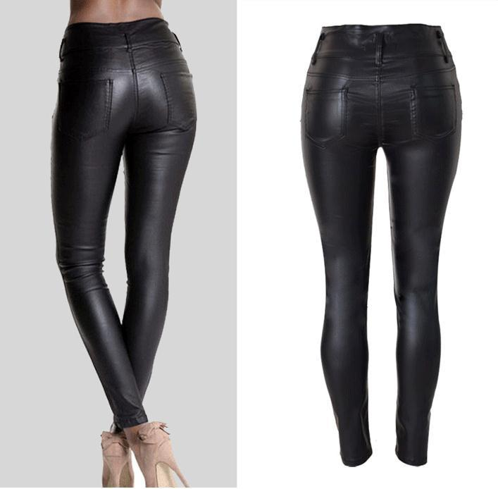 PU Leather High Waist Slim Elastic Pencil Pants - Meet Yours Fashion - 4