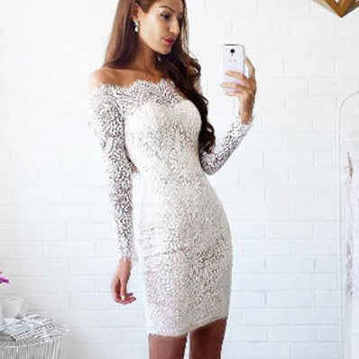 c33426516900 Off Shoulder Long Sleeves Short Bodycon Lace Dress – MeetYoursFashion