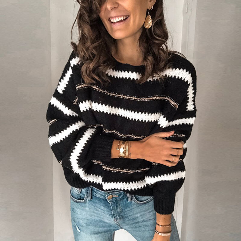 Striped Pattern Crew Neck Sweater